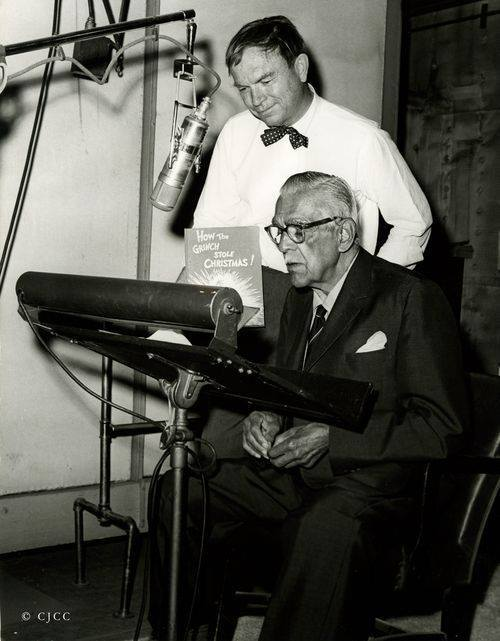 Chuck Jones and Boris Karloff during production of The Grinch