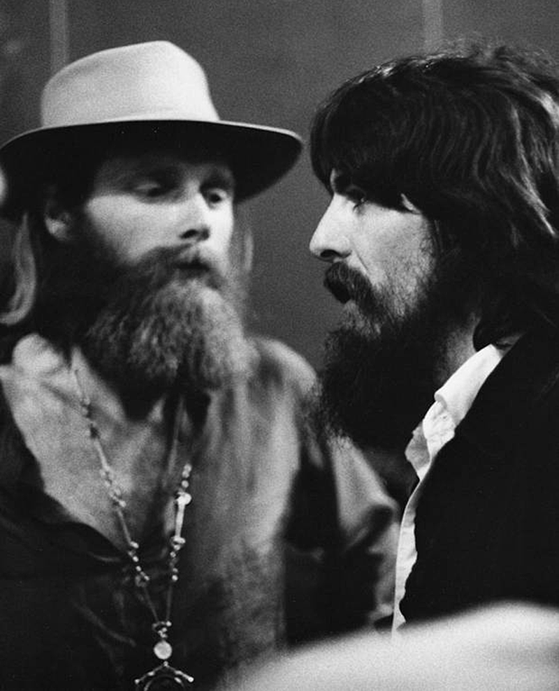 George Harrison with Mike Love of The Beach Boys 1971