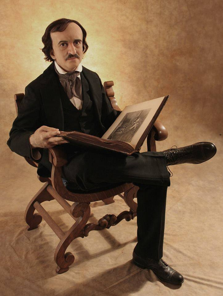 Life size silicone sculpture of Edgar Allan Poe by Tom Kuebler