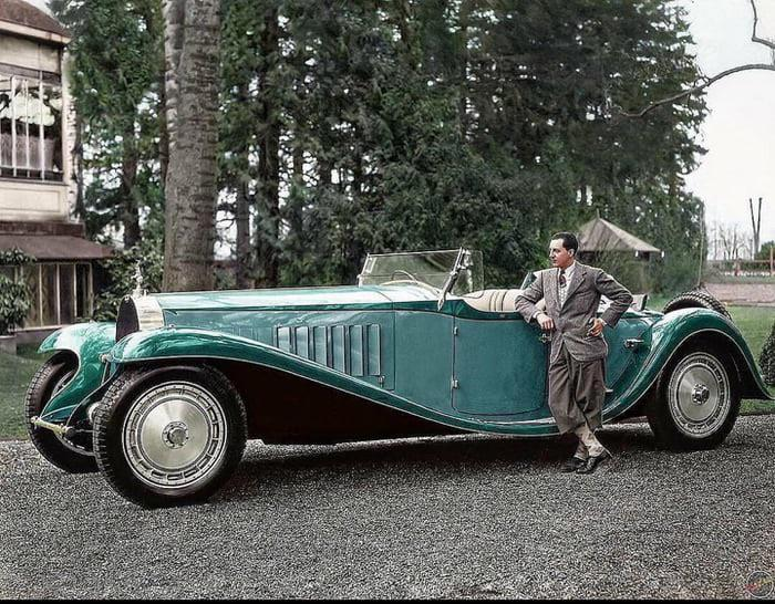 Jean Bugatti with his Bugatti Royale, 1932