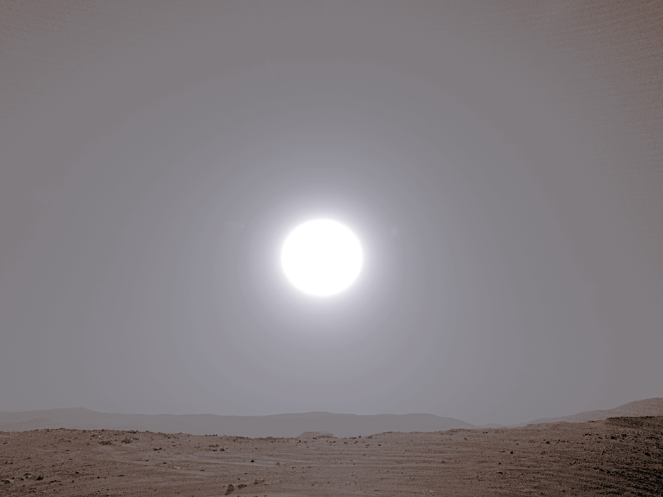 Sun Low on the Horizon on Sol 3