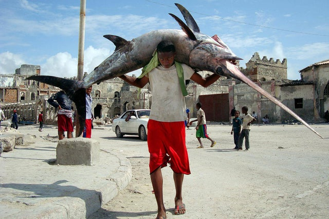 man carryin swordfish